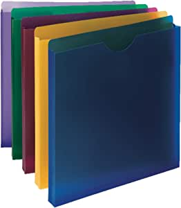 "Smead Poly File Jacket, Straight-Cut Tab, 1"" Expansion, Letter Size, Assorted Colors, 10 per Pack (89610)"
