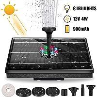 waysad Fuente Solar 4W, con 8 Luces LED de Colores Fuente Solar Flotante Bomba, con 6 boquillas y Colgante de Piedra y batería incorporada para contenedores de Estanque de jardín
