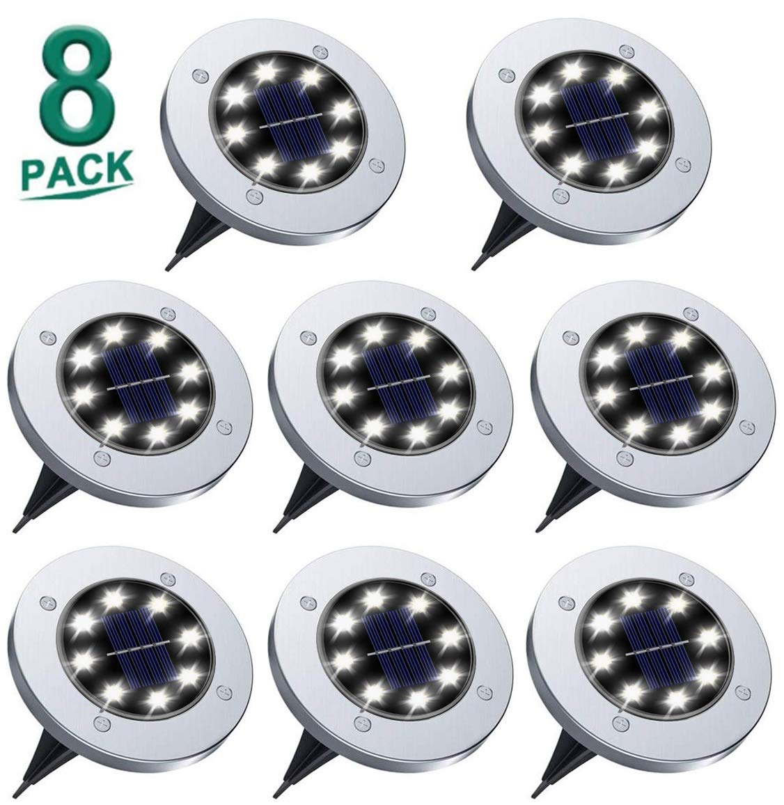 Rishayh Solar Ground Lights, Garden Pathway Outdoor in-Ground Lights with 8 LED (8 Pack White) by Rishayh