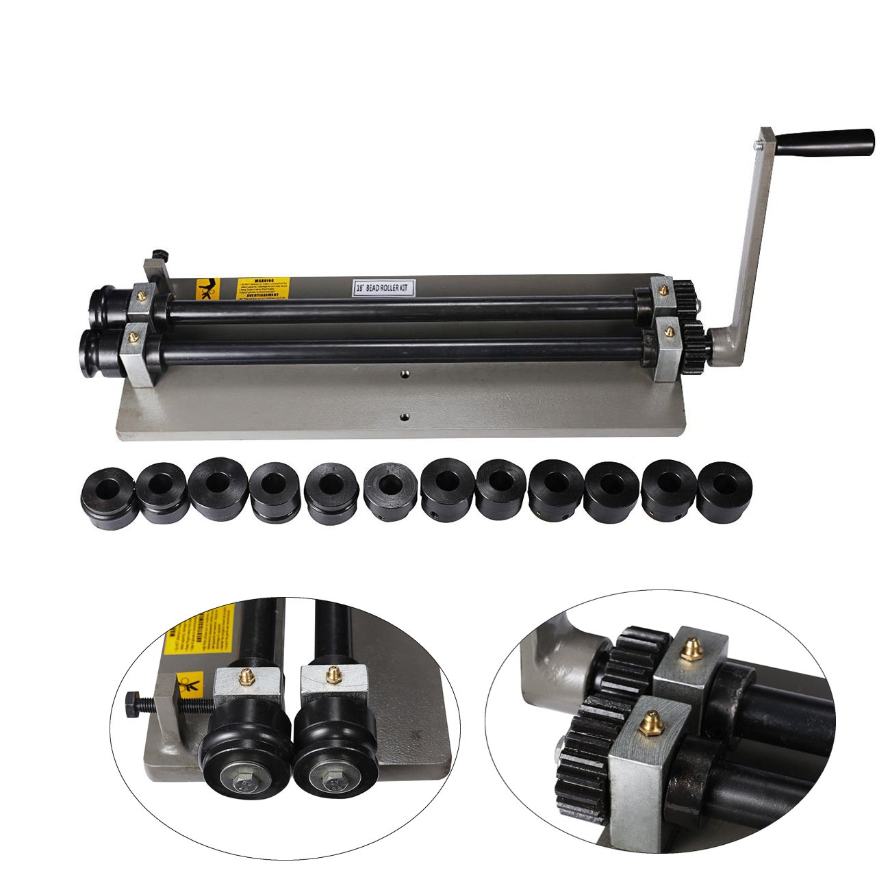 BEAMNOVA Sheet Metal Bead Roller Machine 18 inch Gear Drive Bench 6 Dies Set by BEAMNOVA