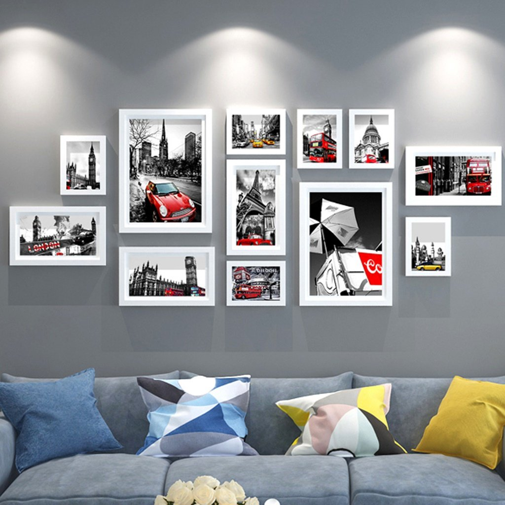 Zxwzzz Photo Wall Photo Wall Decoration Simple Modern Photo Frame Wall Living Room Photo Wall Creative Combination Wall Hanging Photo Frame (Color : White Photo Frame)