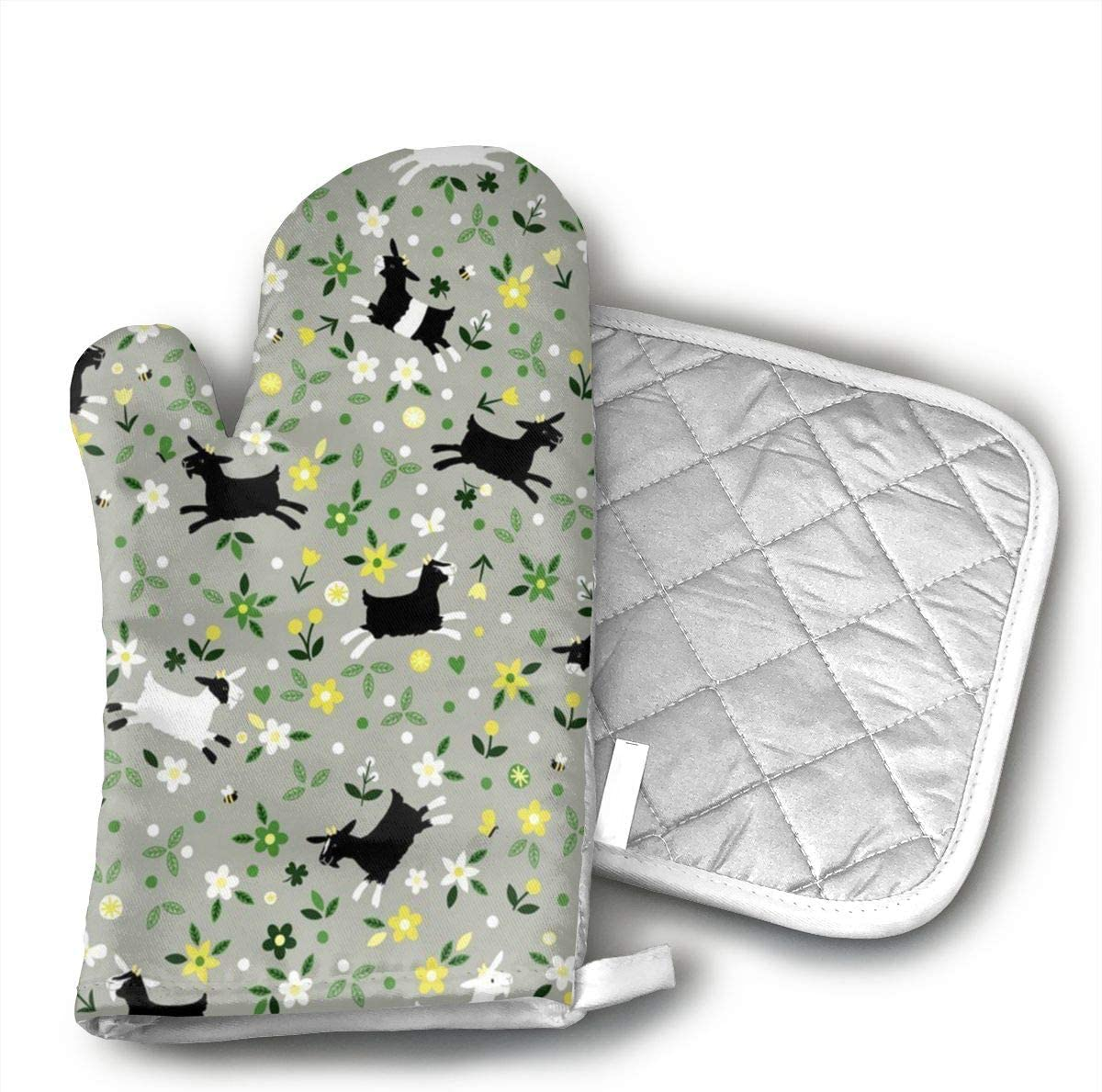 Wiqo9 Goat Frolic Oven Mitts and Pot Holders Kitchen Mitten Cooking Gloves,Cooking, Baking, BBQ.