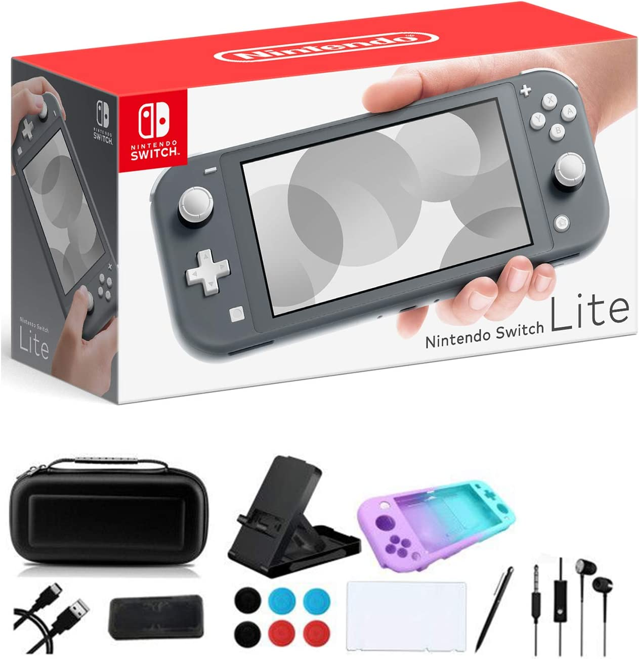 """Newest Nintendo Switch Lite - 5.5"""" Touchscreen Display, Built-in Plus Control Pad, iPuzzle 9-in-1 Carrying Case, Built-in Speakers, 3.5mm Audio Jack, 802.11ac WiFi, Bluetooth 4.1, 0.61 lb - Gray"""