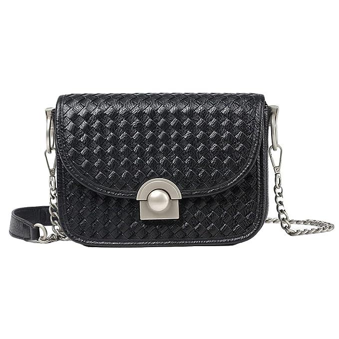 Frau Gewebt Modekette Tasche Schulter-Kurier-beiläufige Handtasche,Red-OneSize GKKXUE