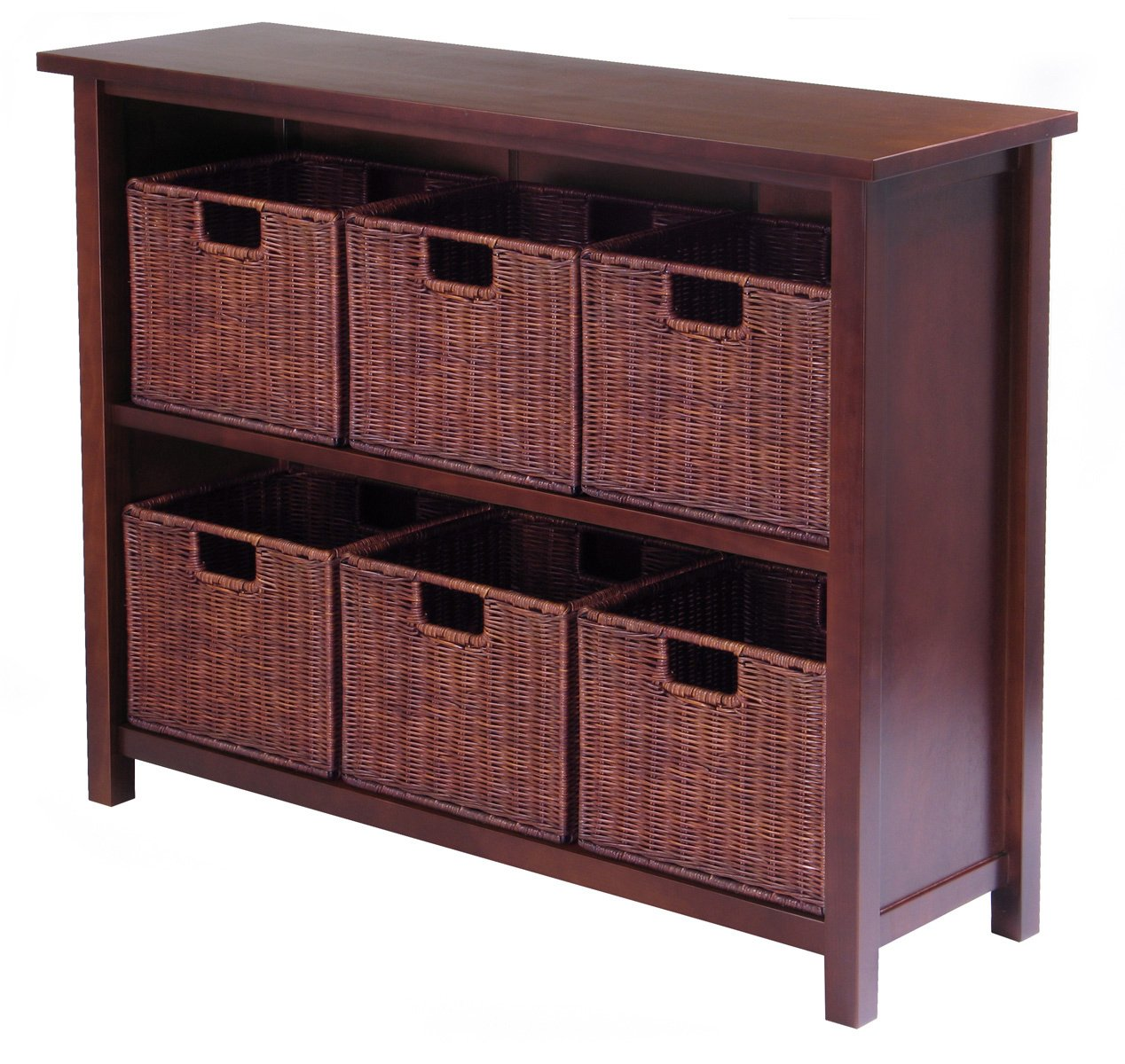 Winsome Wood Milan Wood 3 Tier Open Cabinet and 6 Rattan Baskets in Antique Walnut Finish 94510 WN1423