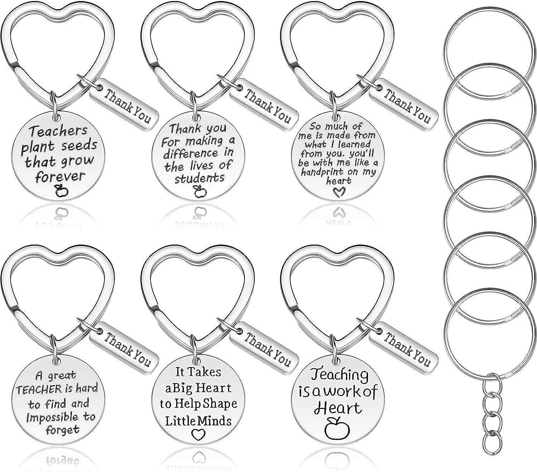 6 Piezas Regalo para profesor Regalo de Apreciación del Maestro Conjunto de Joyería de Cadena de Llave en Forma de Corazón Regalo de Agradecimiento para Profesora con 6 Piezas de Extras Anillas de Lle