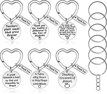 6 Pieces Teacher Gift Teacher Appreciation Gift Heart Shaped Key-chain Jewelry Set Thank You Gift for Women Teachers with Extra 6 Pieces Key Ring