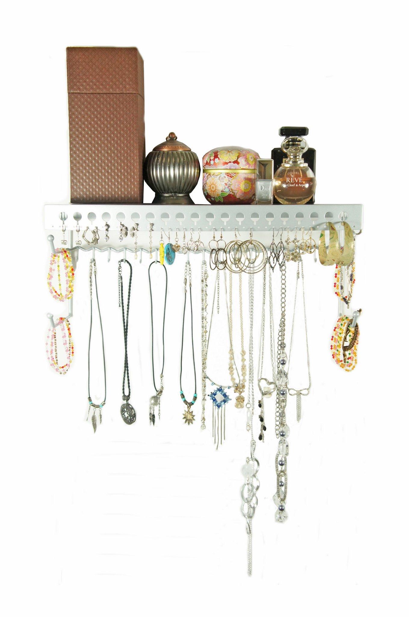 Mango Steam Wall-Mounted Jewelry Organizer Shelf (17 Inch, Silver)