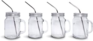 Mason Jar Mugs with Handle Sets, Regular Mouth, Colorful Lids with Reusable Stainless Steel Straw, Kitchen GLASS 16 oz Jars & Dishwasher Safe (4, Silver)