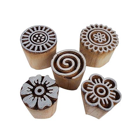 Juego de 5 bloques de impresión florales en espiral de madera ...