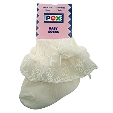 9c6f1f6507dea Pex Baby Girls Ivory Lady Bird Socks (Baby Up to 6 Months): Amazon.co.uk:  Clothing