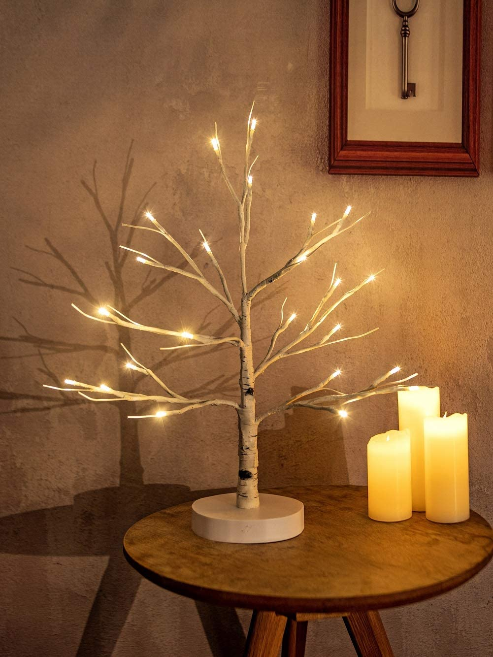 Artificial Decorative Light Tree | 24 Warm White LED Star Batteries USB Operated | Tabletop Decoration Centerpiece | Christmas Easter Holiday Party Indoor Decor 18 Inches (80 LEDs White Base)