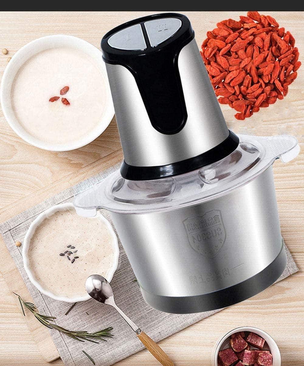 Robot de cocina eléctrica de acero inoxidable for picar carne y verduras Frutas máquina de cortar con 4 cuchillas de recubrimiento de titanio 2- Velocidades Blender y Picadora for picar de cortar