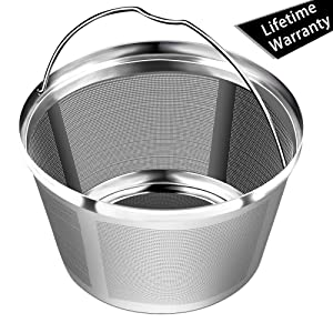 Reusable Basket Permanent Coffee Filters, Perfect Fit for 8-12 Cup Mr. coffee, Black and Decker Basket-Style Coffee Maker Filters and Basket Paper Filters(NOT Fit Cuisinart BUNN & Hamilton Beach)