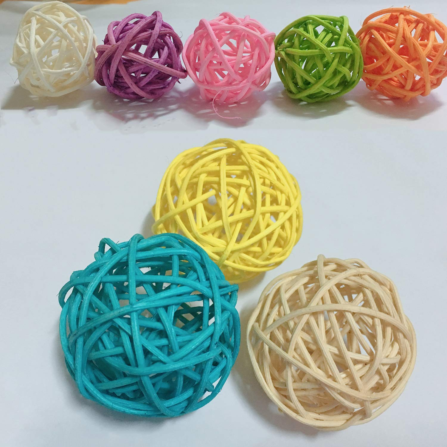 3cm 24pcs Y-luck Wicker Rattan Balls,Decorative Orbs Natural Rattan Balls Vase Fillers for Craft Project Wedding Table Decoration Themed Party,Aromatherapy Accessories,Christmas Tree Decoration