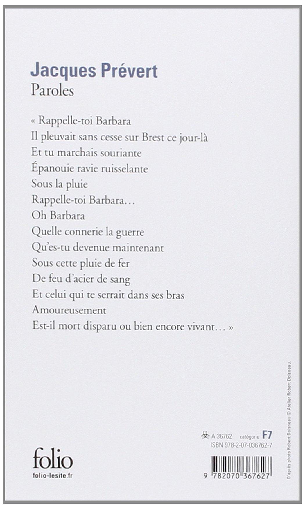 Paroles Folio Amazones Jacques Prevert Libros En