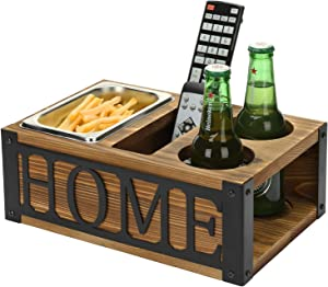 MyGift Rustic Burnt Wood Sofa Snack Caddy Couch Organizer with Slots for Beer, Beverages, Remote Controls, Tablets, & Phones with Black Metal HOME Cutout Decoration
