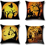BPFY 4Pack Happy Halloween Bat Pumpkin Cushion Covers Cotton Linen Sofa Home Decor Throw Pillow Case Halloween Pillow Covers 18x18 Inch