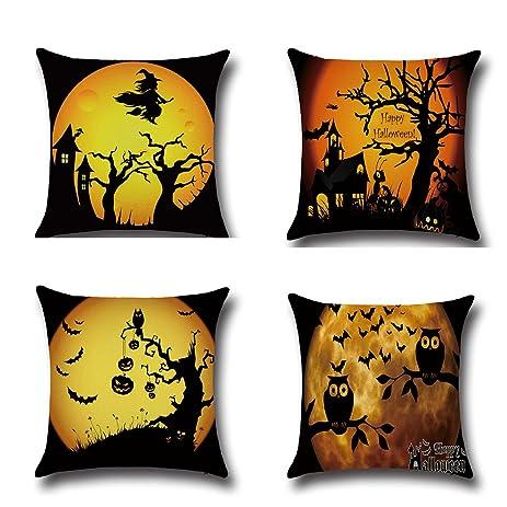 BPFY 4Pack Happy Halloween Bat Pumpkin Cushion Covers Cotton Linen Sofa Home Decor Throw Pillow Case