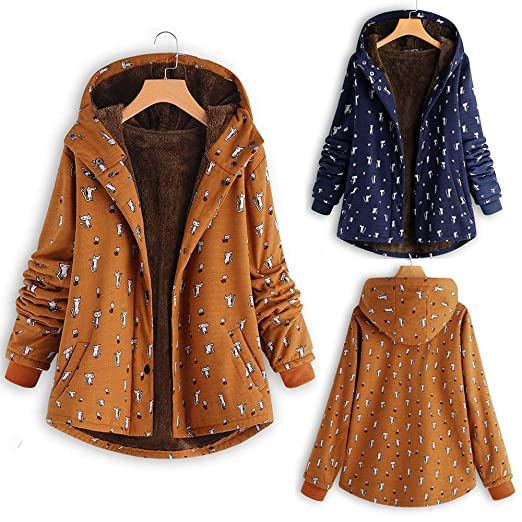 Amazon.com: Womens Winter Warm Outwear Cat Print Hooded Pockets Vintage Oversize Hasp Coats,Sunsee Gril 2019 New,Home Travel,Walking,Must-Have: SUNSEE ...