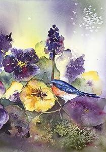 Toland Home Garden Bluebird Pansies 12.5 x 18 Inch Decorative Spring Pansy Flower Bird Garden Flag