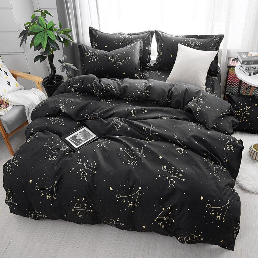 Mysterious Zodiac Duvet Cover Set, Comforter Set Luxury Soft Bedding, Space Theme Kids Quilt Cover (1 Quilt Coverlet & 2 Pillowcases, Queen Size)