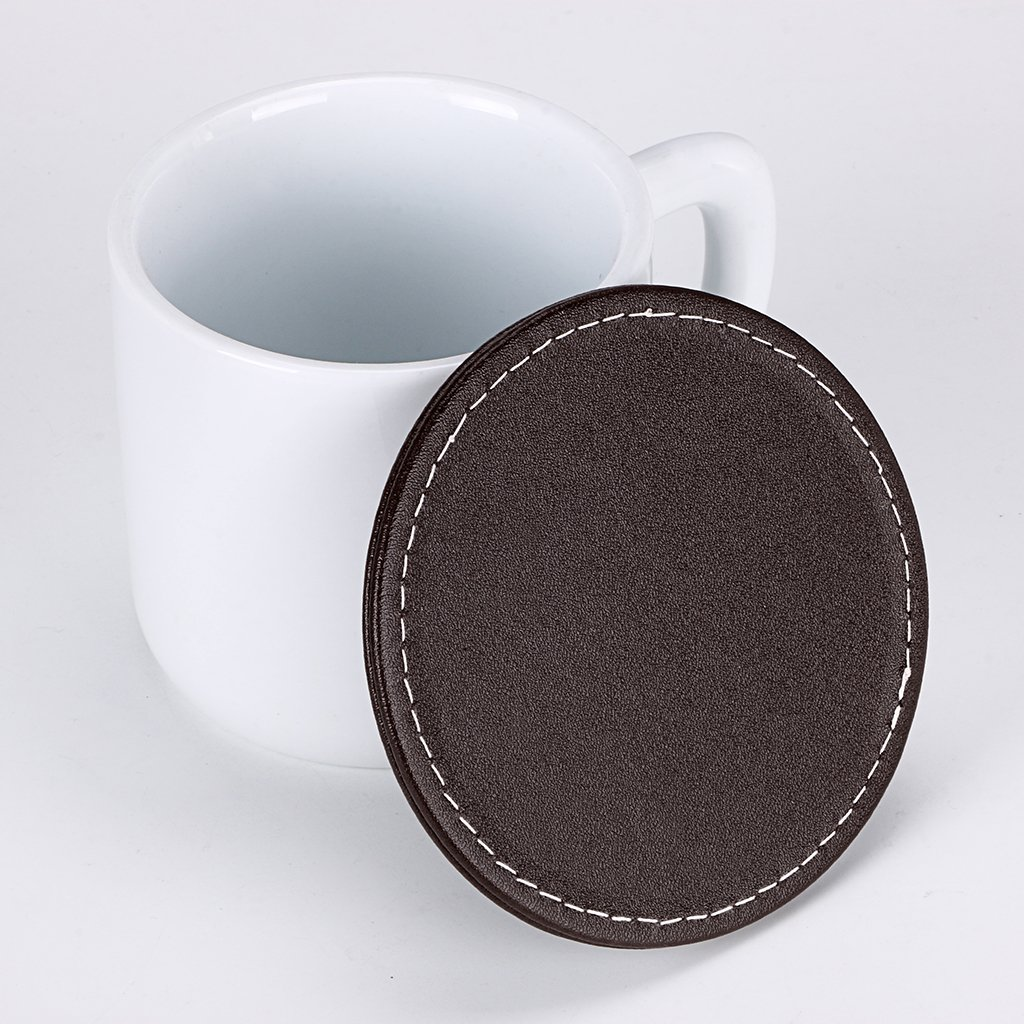 Tabletop Protection Black, Round Square Cup Mats Placemat for Cup Mug Glass Wine Beer Coffee BTSKY Set of 6 Drink Leather Coasters with Holder
