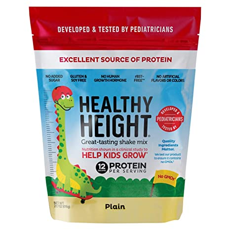 Healthy Height Kids Protein Powder (Plain) - Developed by Pediatricians - High in Protein Nutritional Shake to Supplement Child Growth - No Added Sugar, Great for Picky Eaters