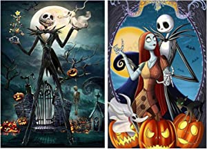 LOCOLO 2 Pack Halloween DIY 5D Diamond Painting by Number Kits, Halloween Full Drill DIY Painting Arts Crafts for Home Wall Decor,11.8 X 15.7 Inch, Halloween Skull Jack