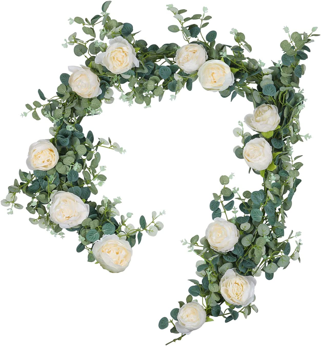 U'Artlines 6Ft Artificial Eucalyptus Leaves Garland Faux Silk Greenery Vine Hanging Plants Swag for Home Wedding Backdrop Table Decor (Eucalyptus Garland with Light Champagne Peonies)