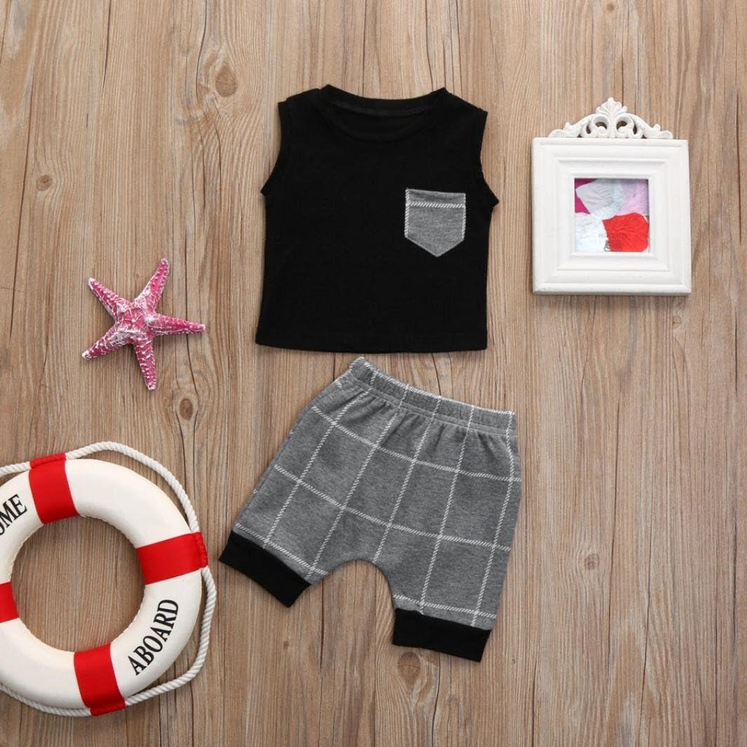 Willsa Baby Clothes Toddler Boys Fake Two Pieces Short Sleeve T-Shirt+Pants Gentleman Set
