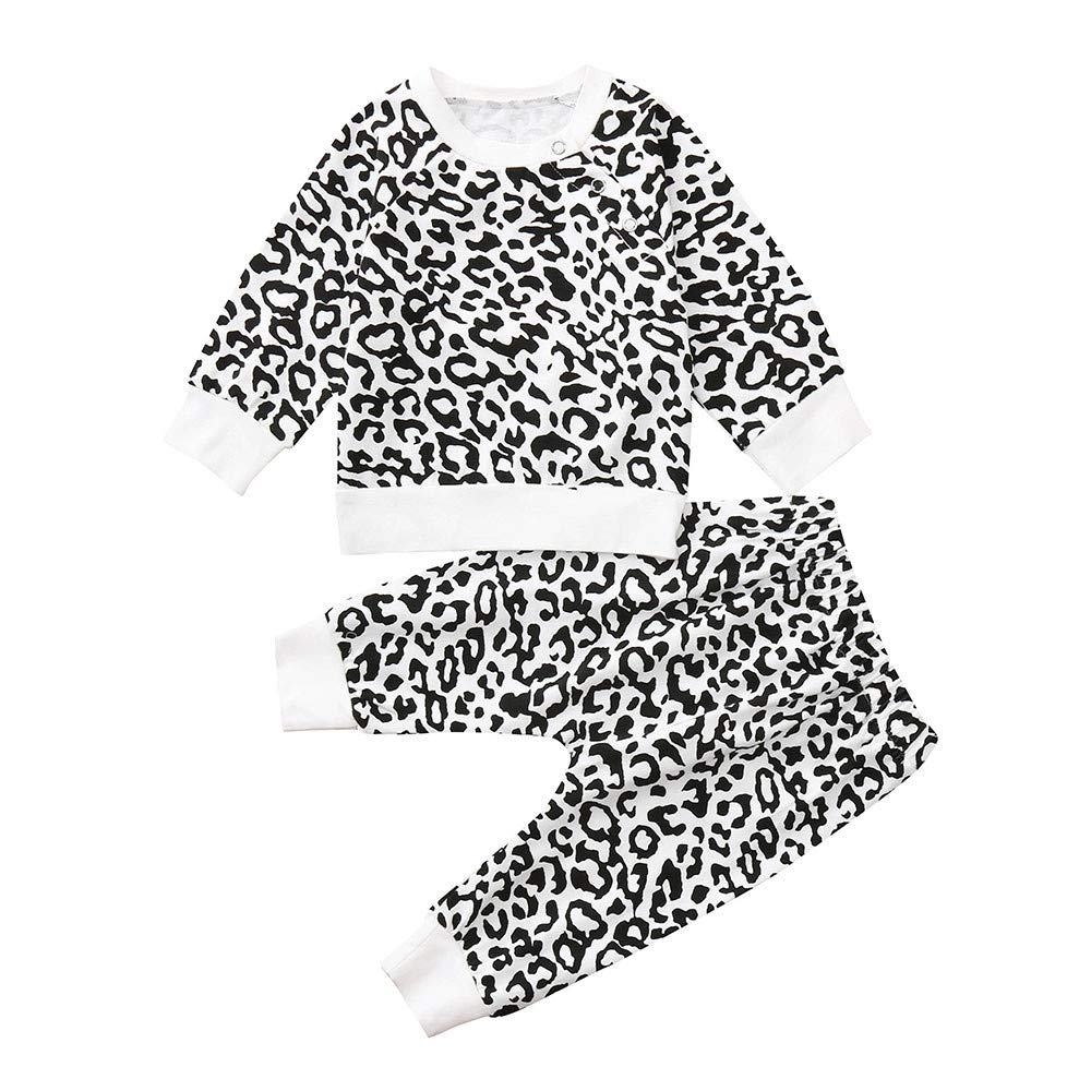 Robemon vêtement bébé Toddler Baby Boy Girl Tops Imprimé Léopard T-Shirt Pull Sweat Pantalon Ensemble 2pcs Sweat-Shirt Suit 6-24Mois