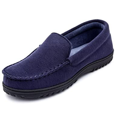 Men's & Women's Moccasin Slippers Anti-Slip House Shoes, Indoor Outdoor Rubber Sole Loafers