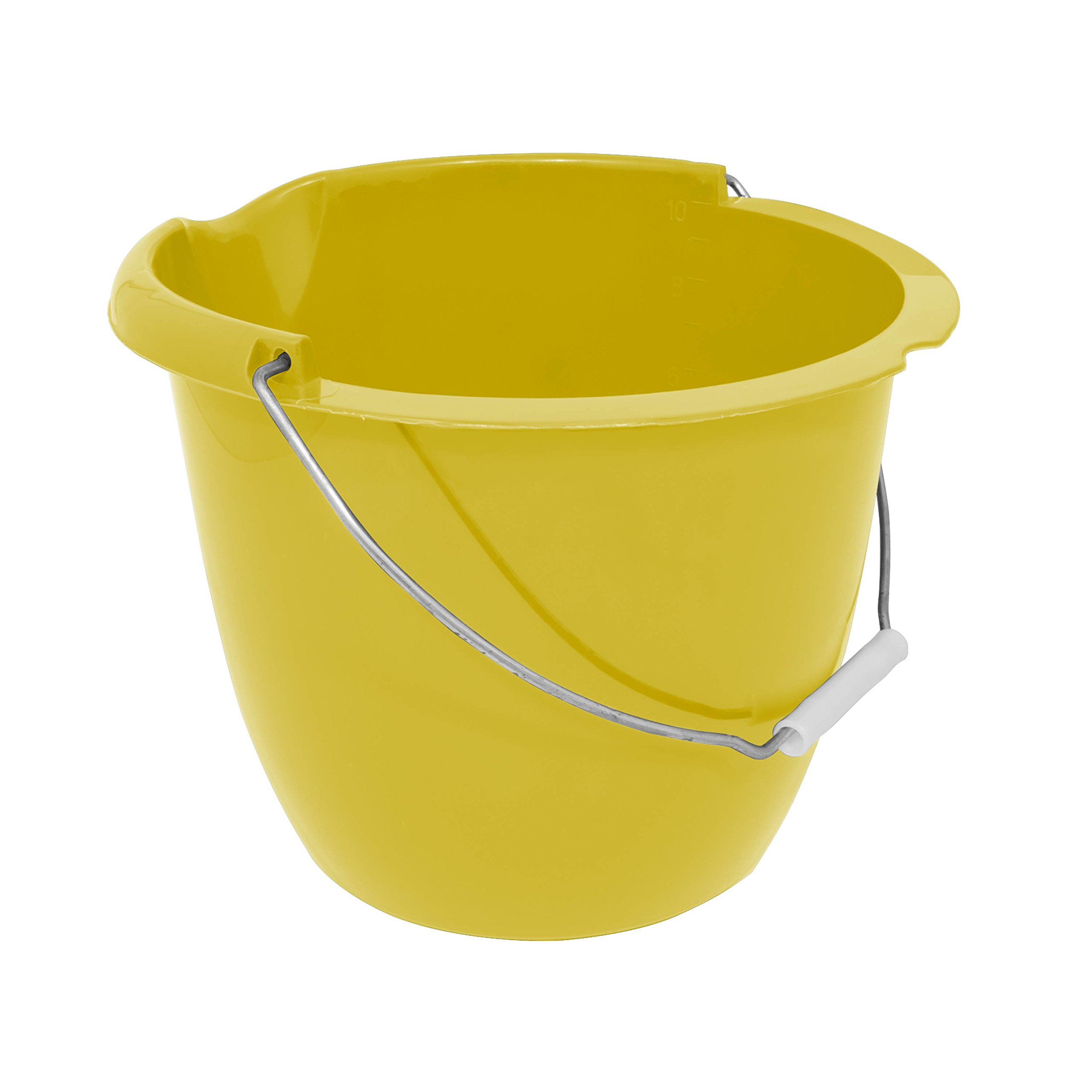 Charles Bentley Plastic Bucket with Pouring Lip 10 Litre Capacity Yellow