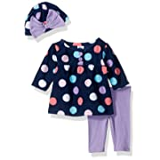 Gerber Baby 3 Piece Micro Fleece Top, Pant and Cap Set, big dots, 3-6 Months