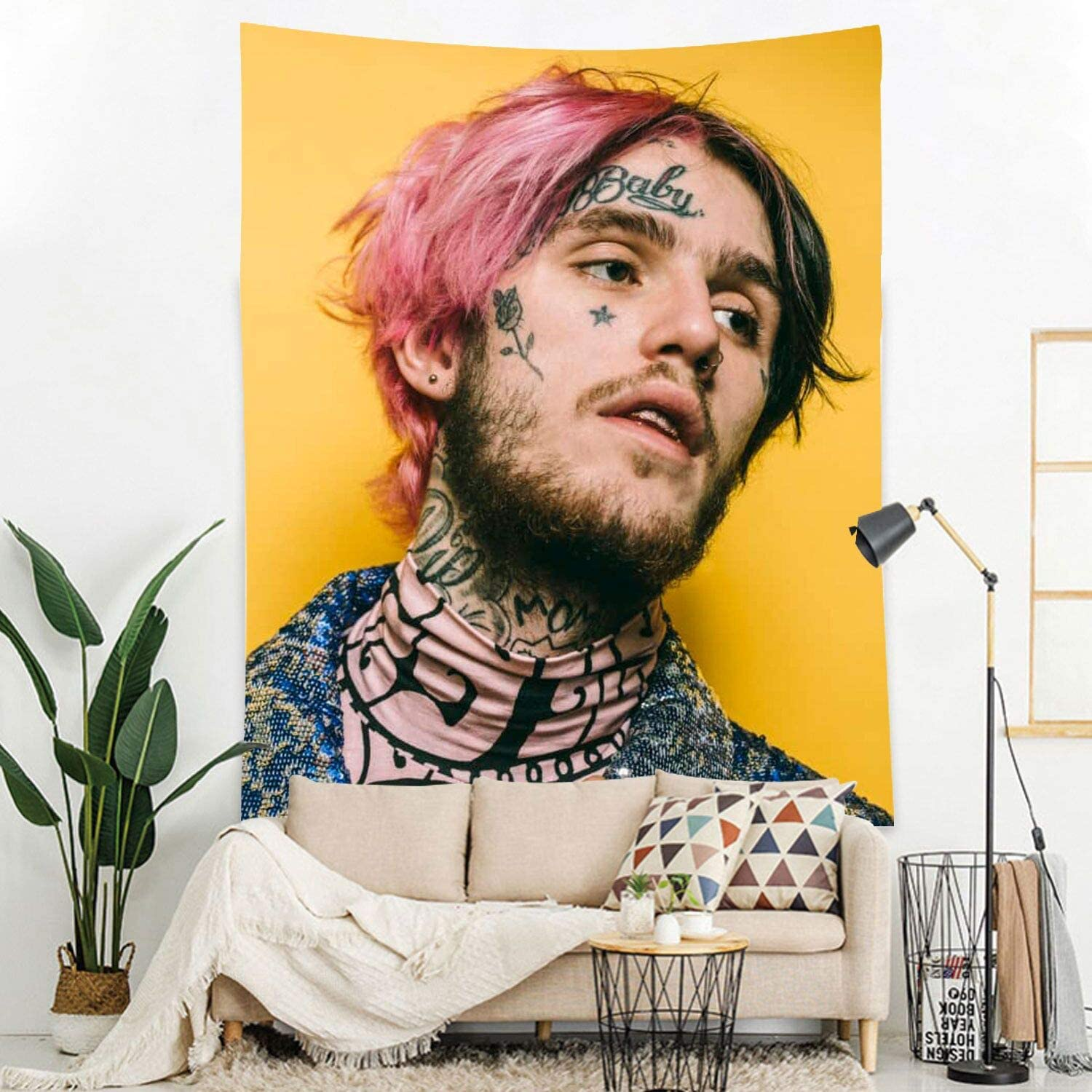 Lil Peep Tapestry Wall Hanging Wall Art Living Room Dorm Party Decor (59.1X51.2 inch)