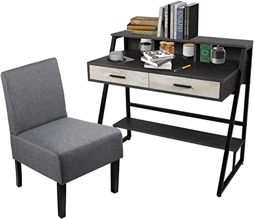 Modern Home Office Writing Computer Desk and Chair Set