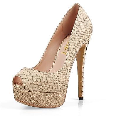ee43950aecc3 Chris-T Women Thin High Heels Ladies Wedding Dress Court Shoes Peep Toe  Platform Pumps