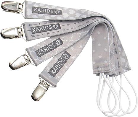 Karids Cadena Chupetes kit de 4 cadenas de chupetes unisex, cinta ...