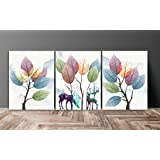 SAF Flower Abstract Multieffect UV Textured Panel Painting (Set of 3, 12 Inches X 27 Inches (SANFC12232)
