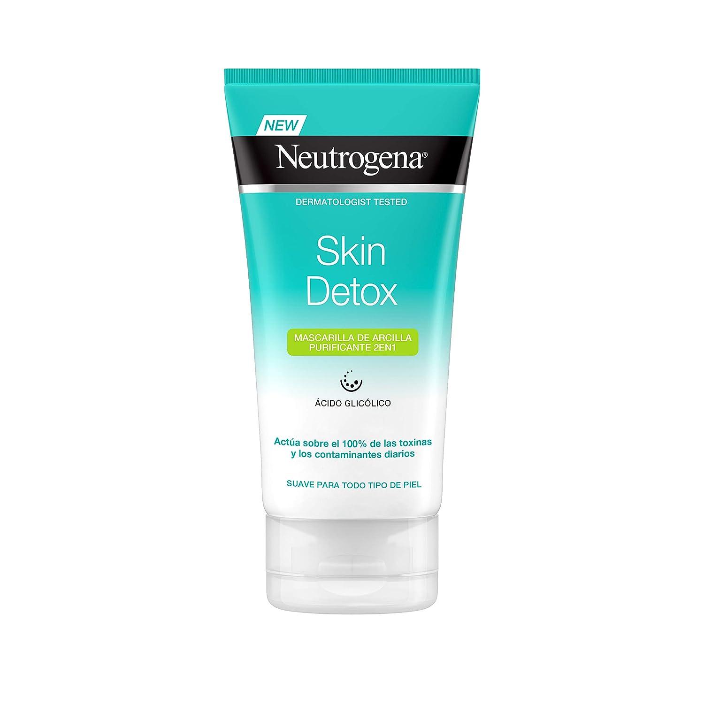 Neutrogena Detox - Mascarilla arcilla purificante 2 en 1 – Limpiador diario y mascarilla – 150 ml