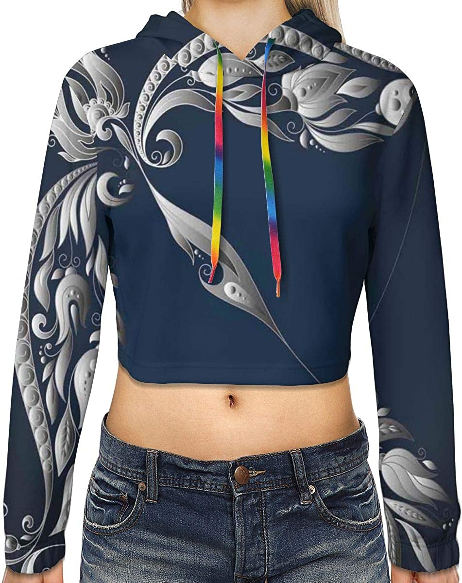 Womens Cropped Hoodie,Hand Drawn Bow Arrow Motif with Leaves Flowers Astrology Sign,S-XL