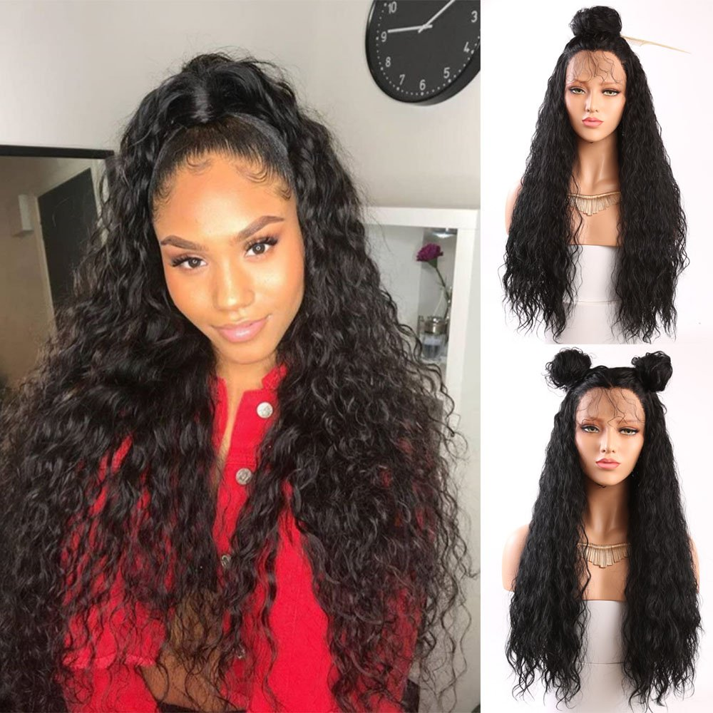 Fureya Hair Loose Curly Glueless Synthetic Lace Front Wigs for Women Heat Resistant Fiber with Baby Hair 24 inch Natural Black Lace Wigs Ltd