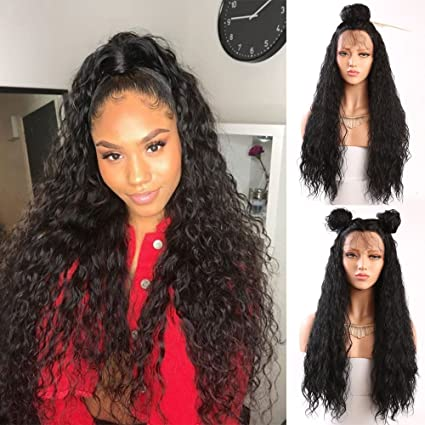 Fureya Hair Loose Curly Glueless Synthetic Lace Front Wigs for Women Heat Resistant Fiber with Baby