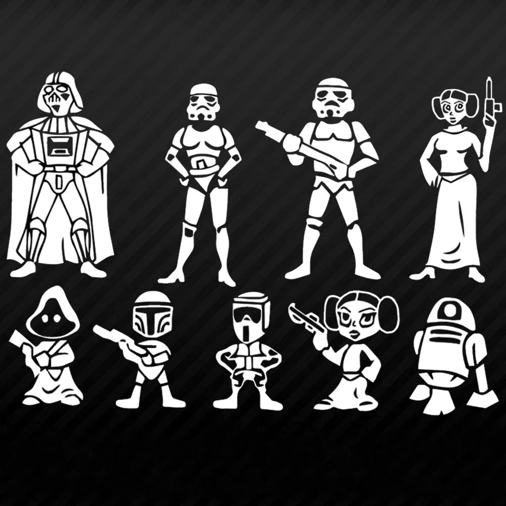 **FREE DECAL W// PURCHASE of 4 decals** Star Wars Family Car Decals Stickers