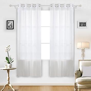 Deconovo Sheer White Curtains Grommet Curtains Voile Curtains Sheer Curtains  For Living Room 52W X 84L Part 52