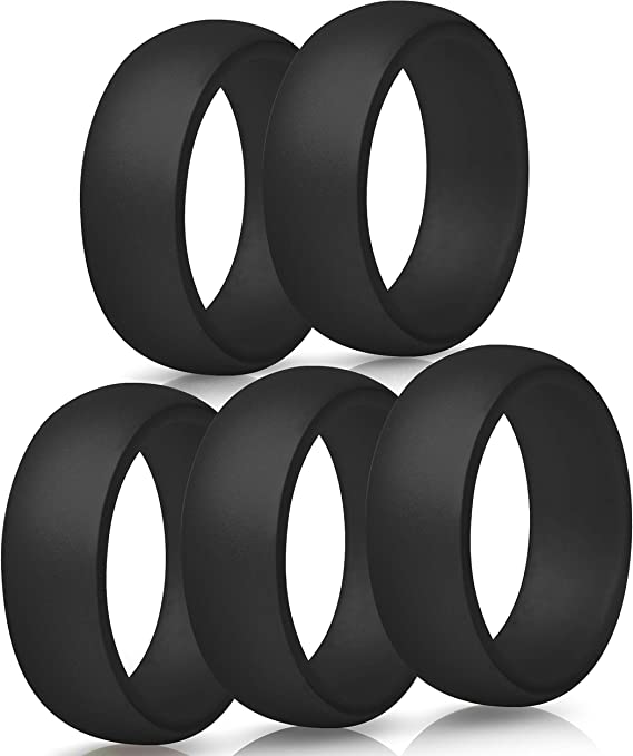 Breathable Silicone Wedding Bands with Groove for Protection from Extreme Conditions Tire Tread Design Rubber Wedding Bands for Men 8.7 mm Wide Silicone Rings for Men Silicone Rings