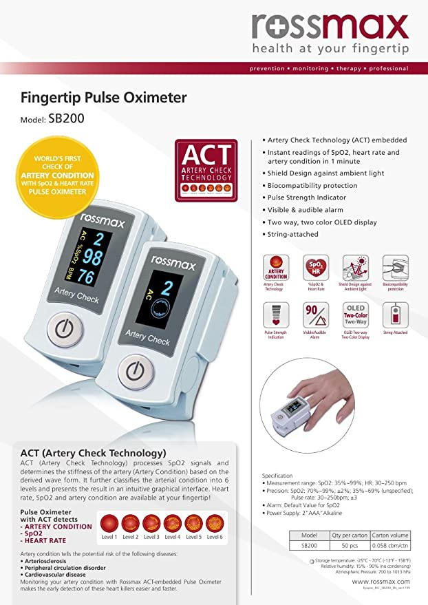 Rossmax Fingertip pulse oximeter with ACT: Amazon in: Health