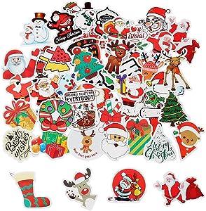 SUMAJU 50 Pcs Christmas Stickers, Xmas Stickers Decal Cartoon Laptop Stickers Vsco Vinyl Stickers with Snowman, Reindeer, Tree, Bear, Santa Claus