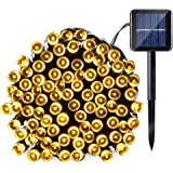 Qedertek Solar String Light, 33ft 100 LED 8 Modes Light Sensor Control Waterproof Decorative Ambiance Light For Patio, Lawn, Garden, Fence, Balcony, Party, Holiday, Christmas Decorations(Warm white)